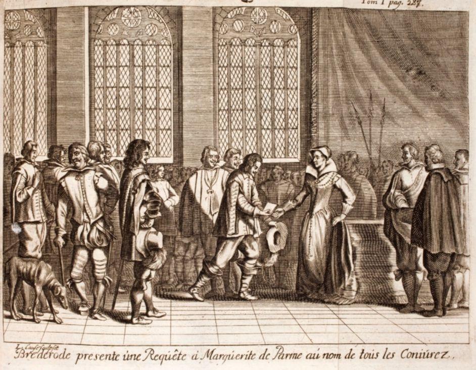 Hendrik van Brederode biedt Margaretha van Parma het Smeekschrift der Edelen aan.